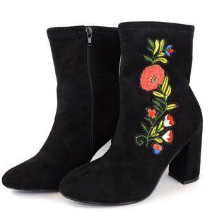 Patrizia Geza Boots Black Flower Embroidered Midi